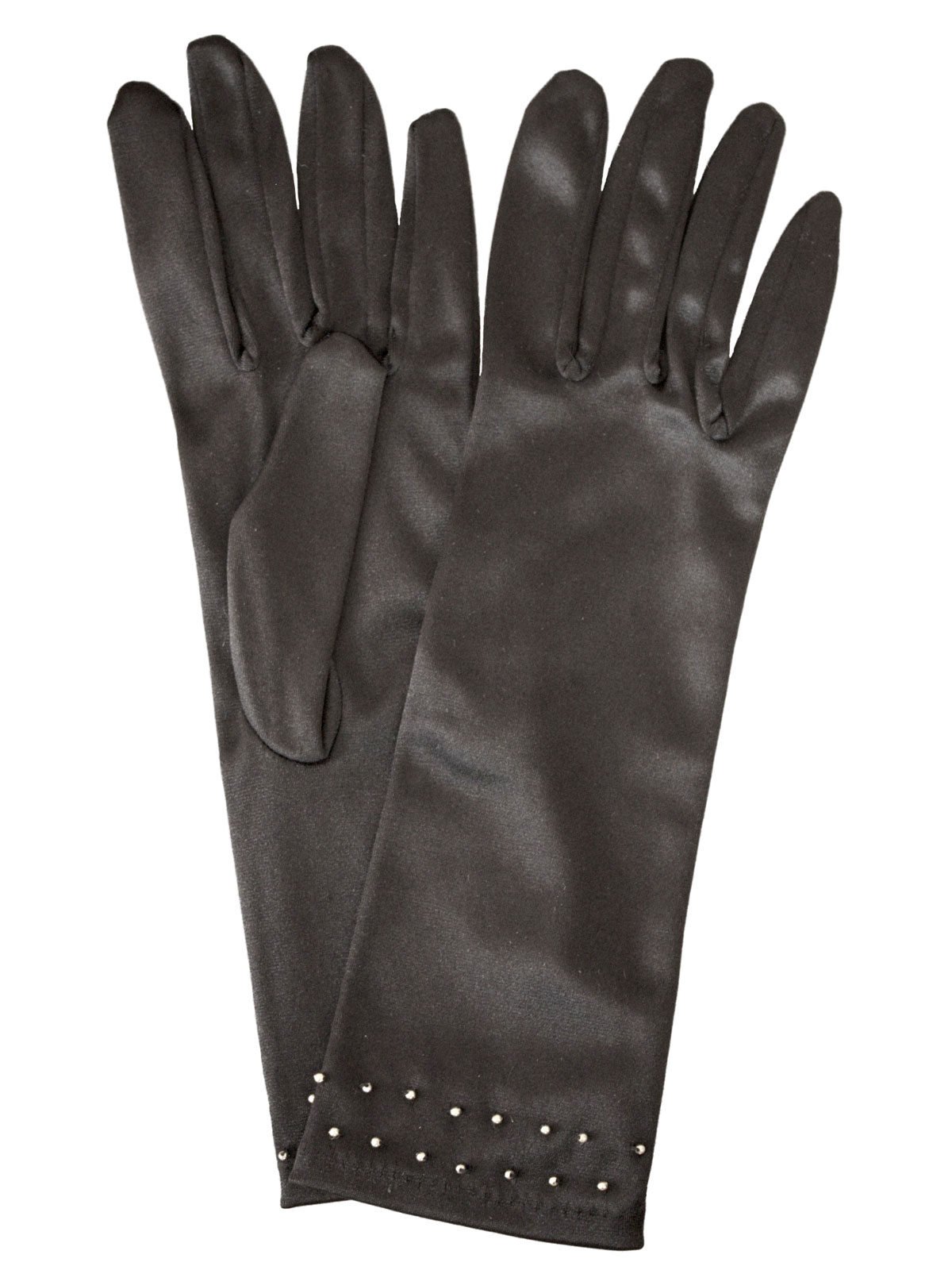 Dents Black Satin Dress Gloves with gold studs