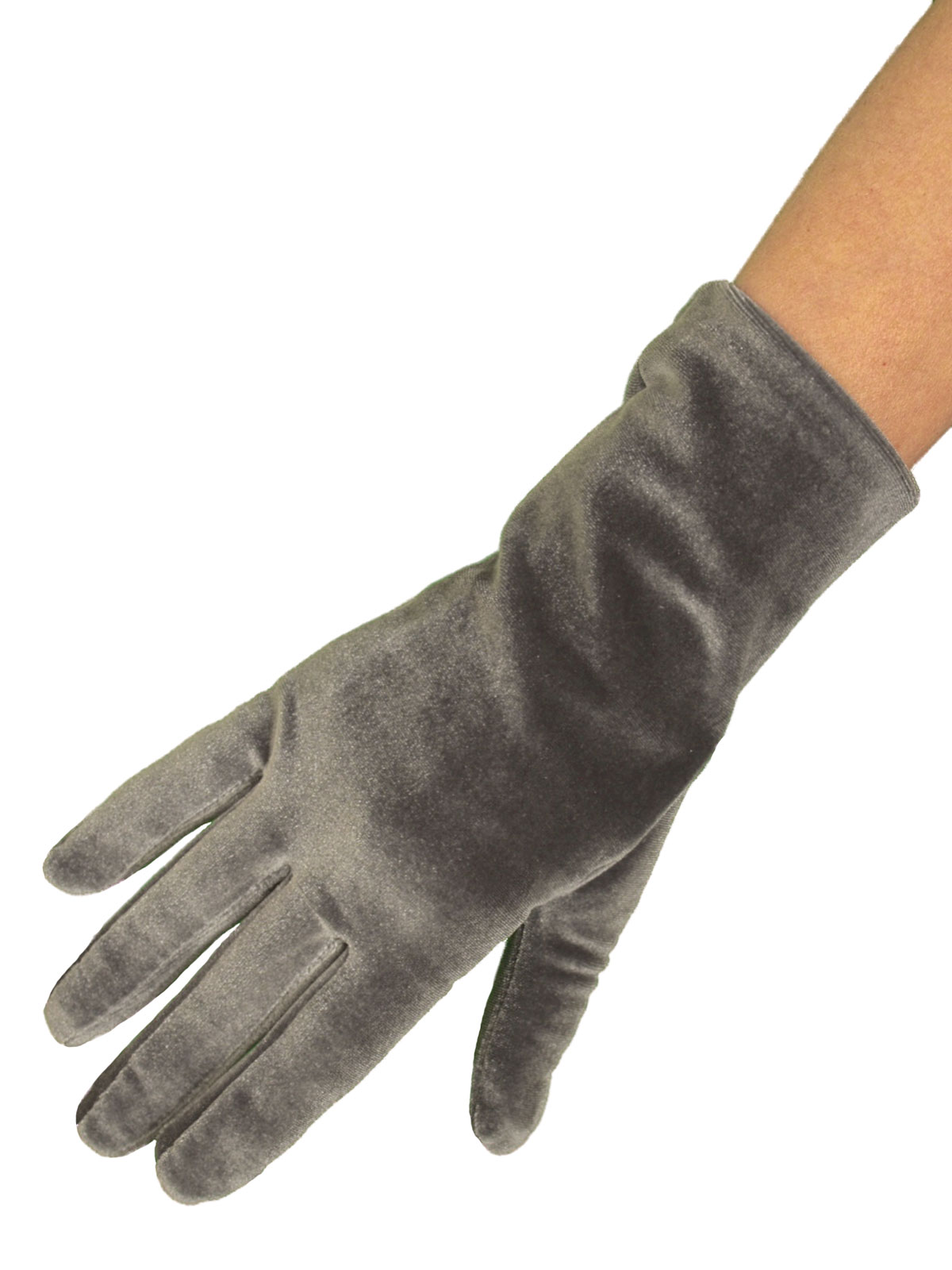 Dents Short Vintage Velvet Gloves, Slate Grey