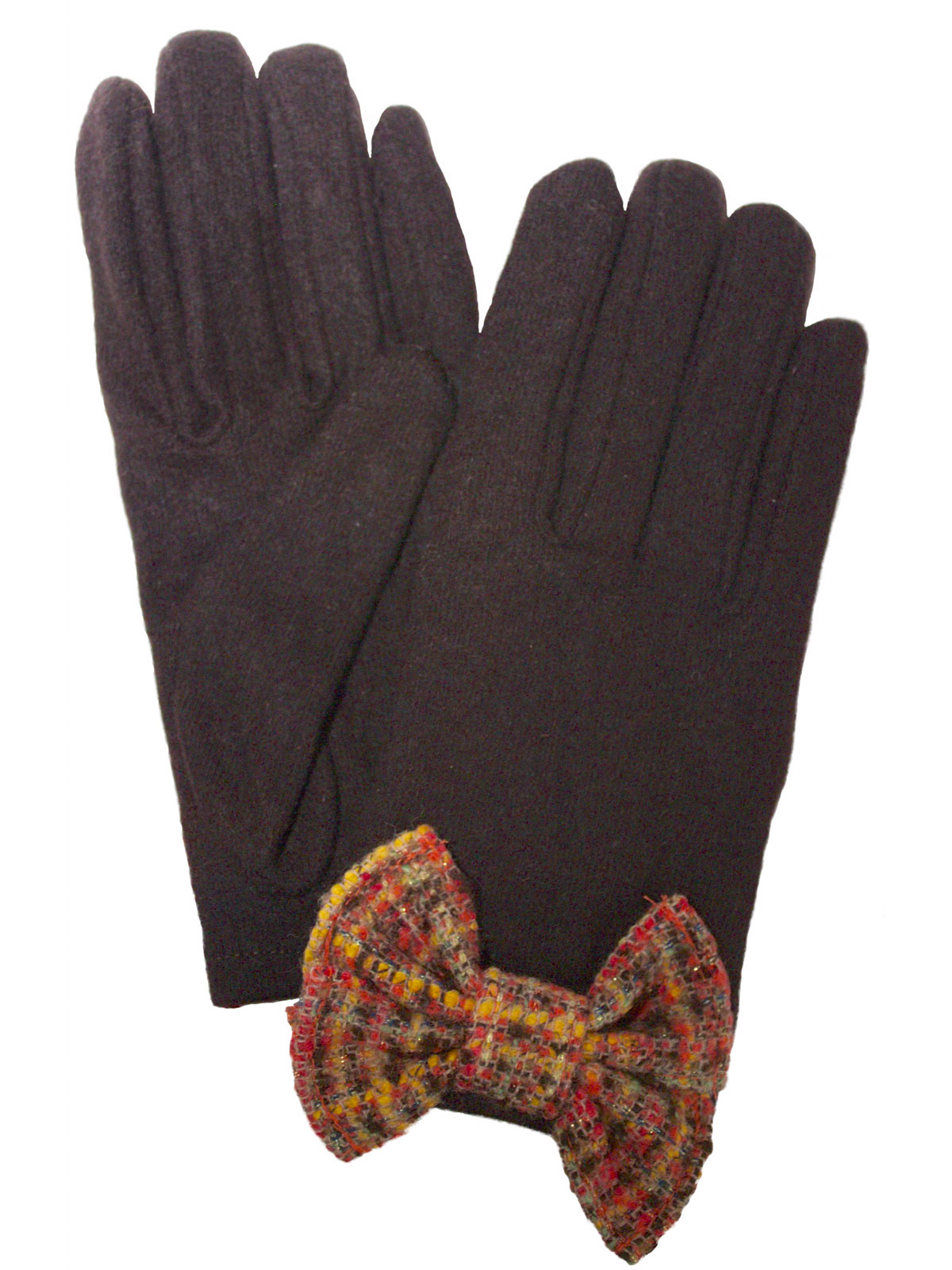 Dents Ladies Wool Gloves with tweed bow, Chocolate