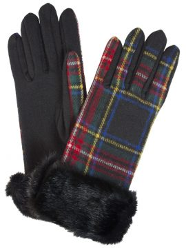 Dents Black Stewart Wool Tartan Gloves with faux fur cuff