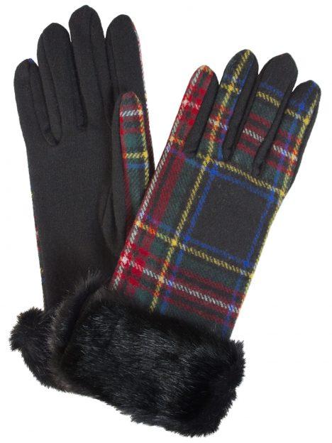 Dents Black Stewart Wool Tartan Gloves with faux fur cuff