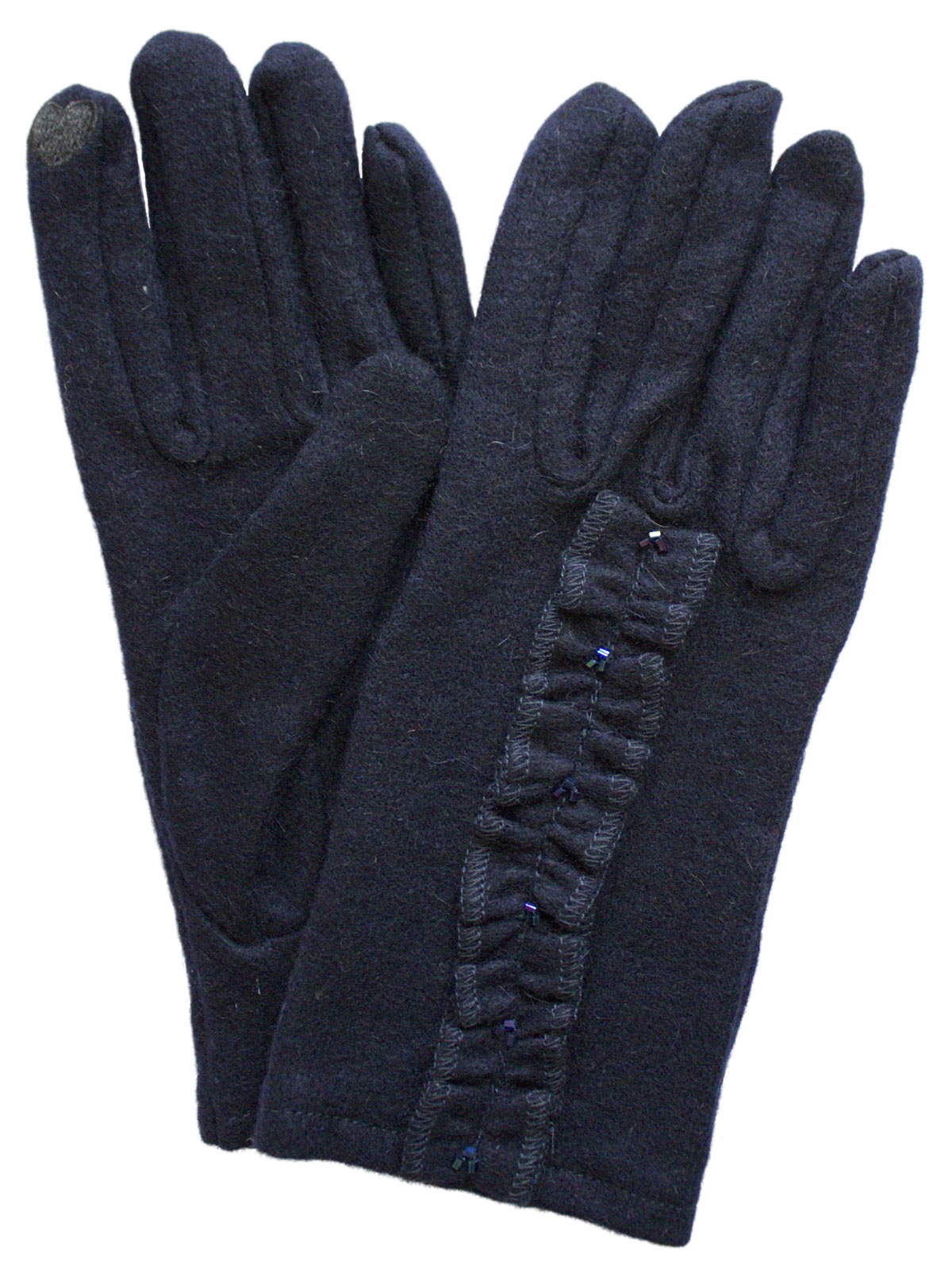 Dents Ladies Navy Wool Touchscreen Gloves