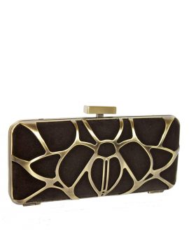 Dents Chocolate Brown Velvet Clutch Bag, metal web