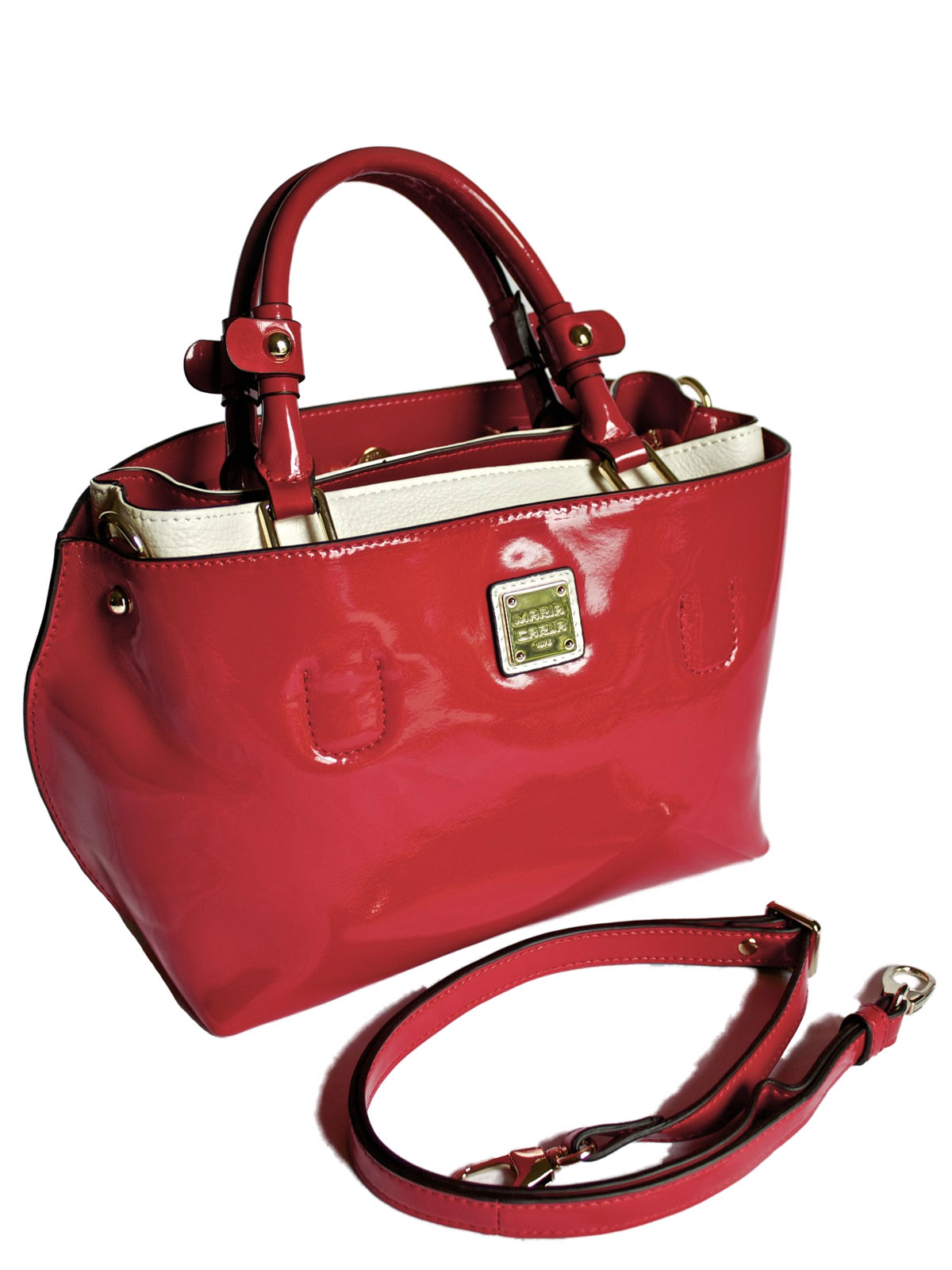 Maria Carla Red Patent Leather Grab Bag