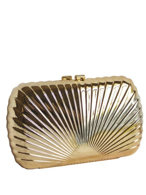 Dents Gold Metal Shell Clutch Bag Purse