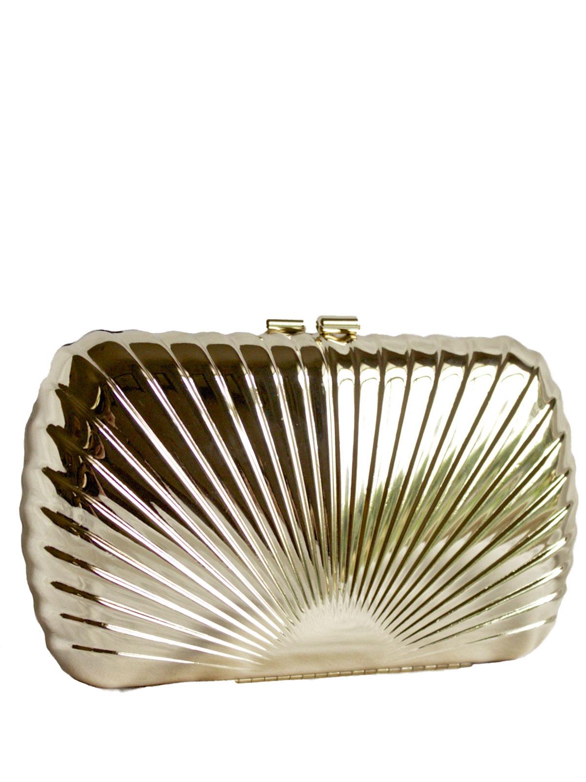 Dents Light Gold Metal Shell Clutch Bag Purse