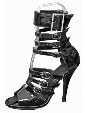 Pleaser Black Patent 7-Strap High Heel Sandals