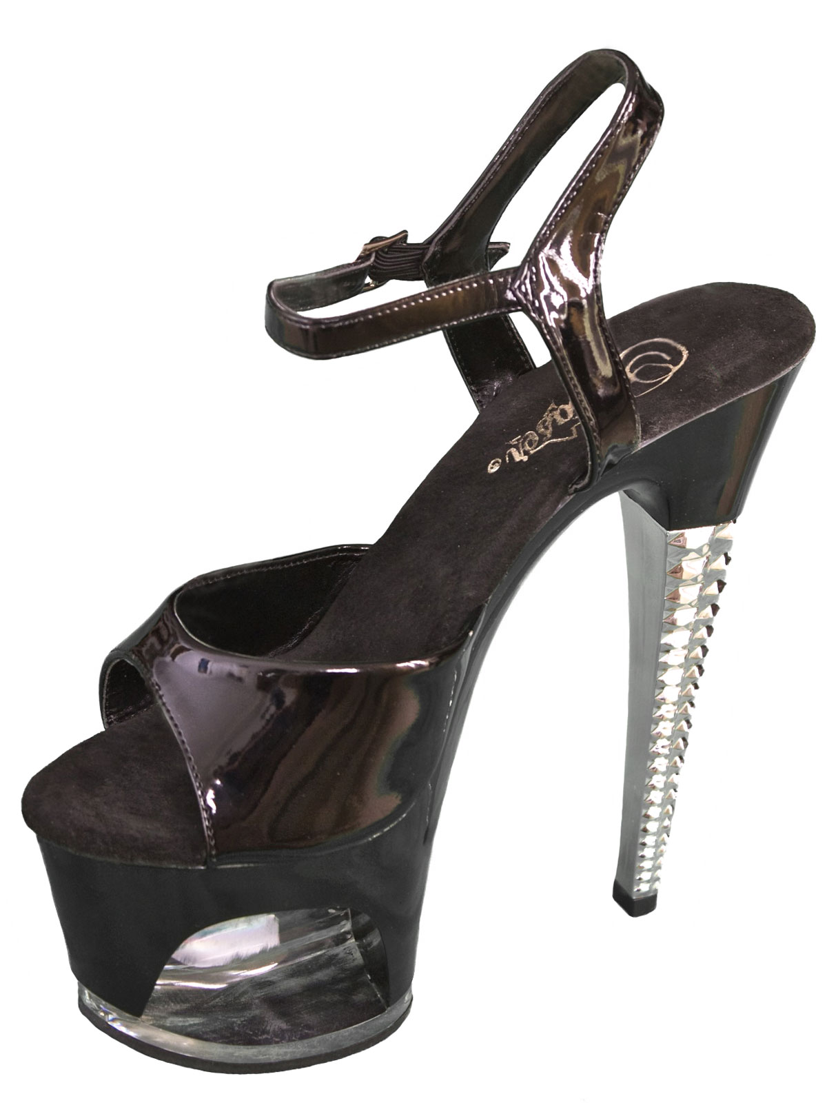 Pleaser Black Patent Platform High Heel Sandals with ankle strap
