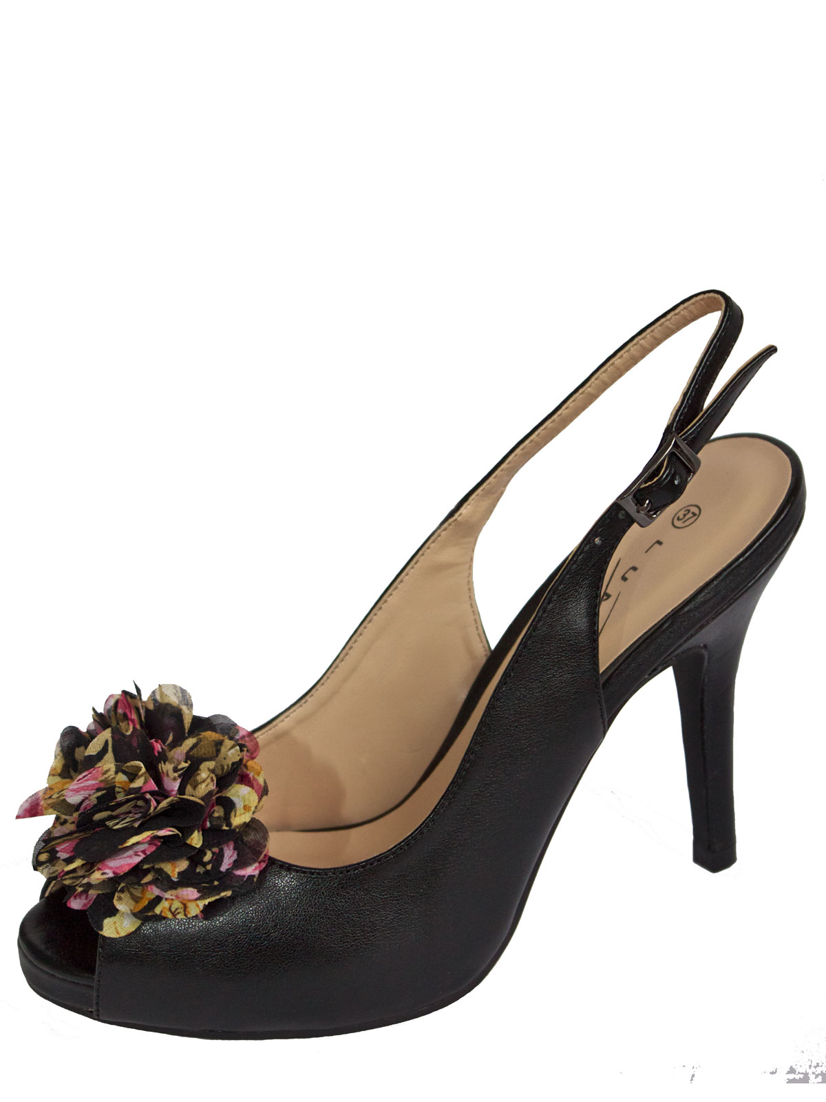 Lunar Black Slingback High Heels, Peep Toe Multicoloured Rosette