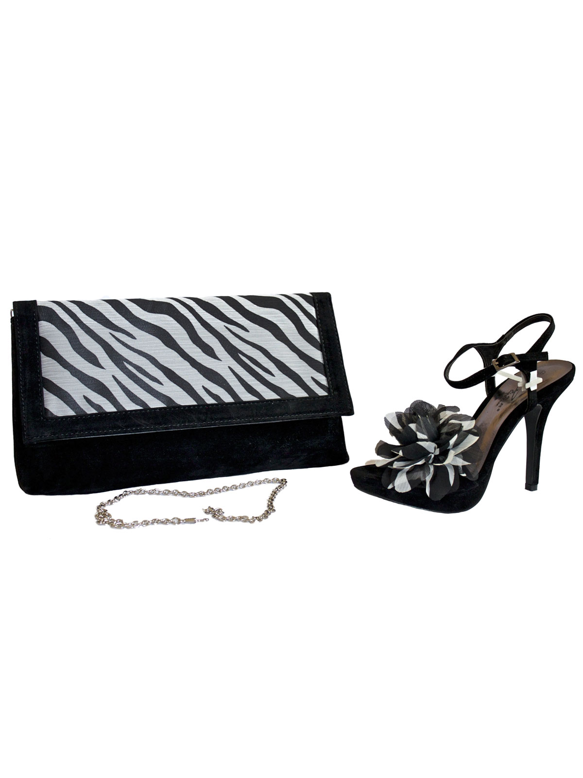 Lunar Black White Stiletto Slingbacks and Bag