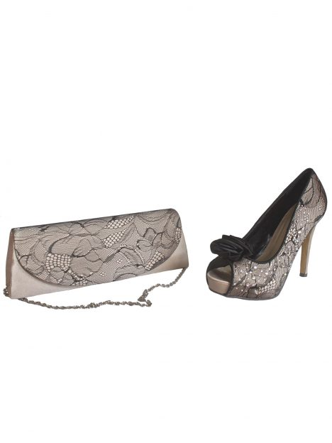 Lunar Nude Satin Black Lace Stiletto Matching Shoes and Clutch BAg
