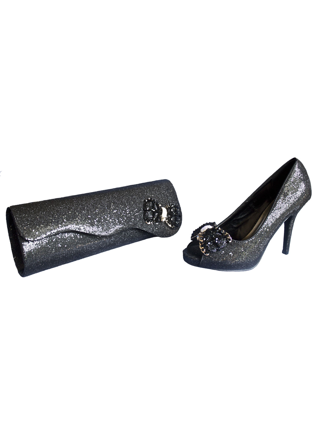 Lunar Black Glitzy Matching Shoes and Bag