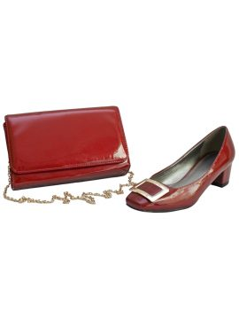 Lunar Red Chunky Low Heel Shoes and Bag