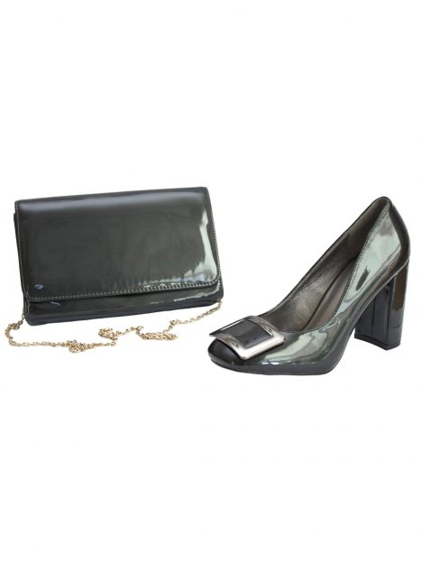 Lunar Anthracite Chunky High Heel Shoes and Bag