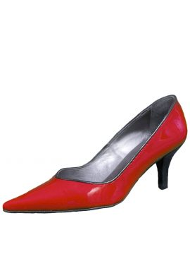 Gucinari Ladies Red Patent Leather Low Heel Shoes