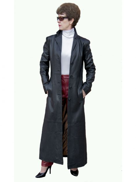 Ladies Superior Black Leather Maxi Coat