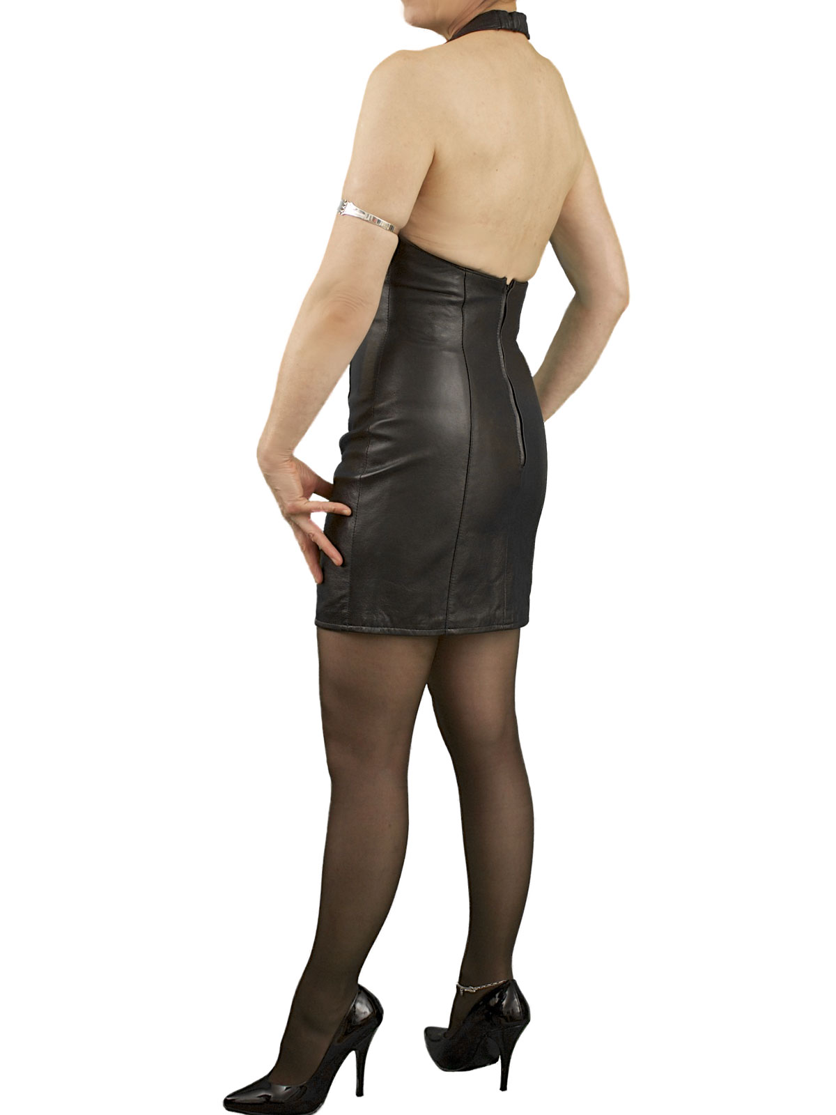 Black Halterneck Leather Dress