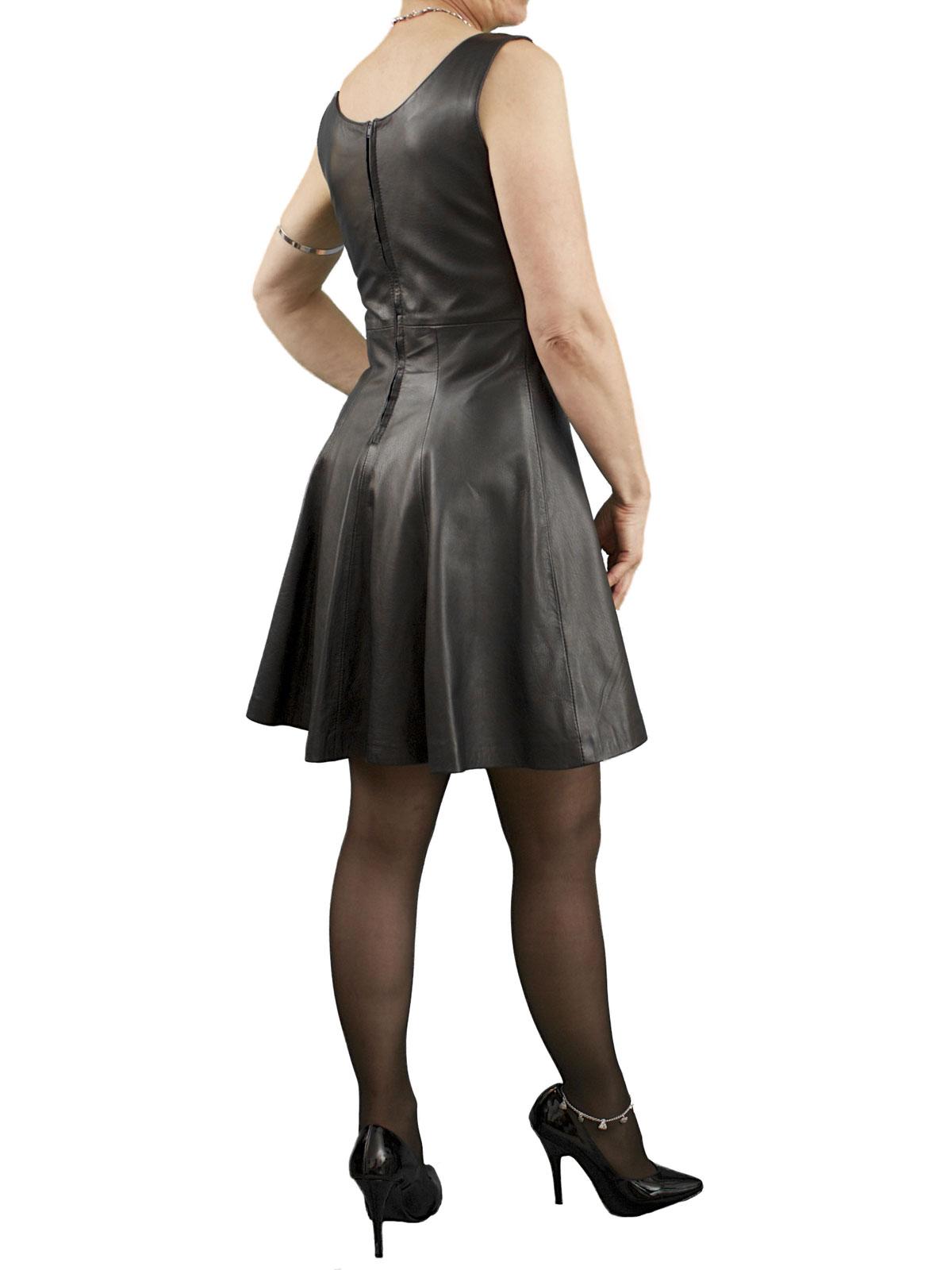 Schoolgirl Pinafore Black Mini Leather Dress Tout Ensemble