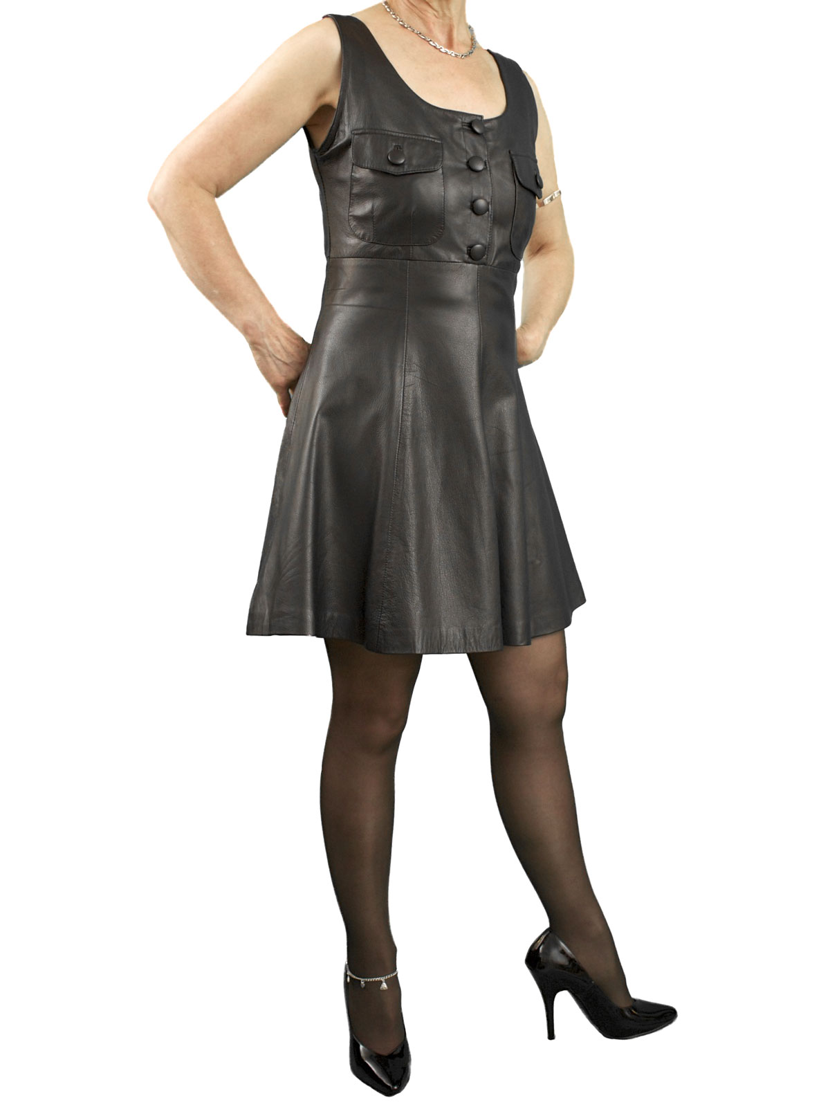 Black Leather Pinafore Dress