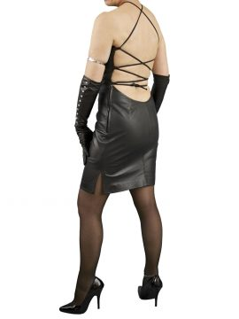 Black Tie Back Leather Dress