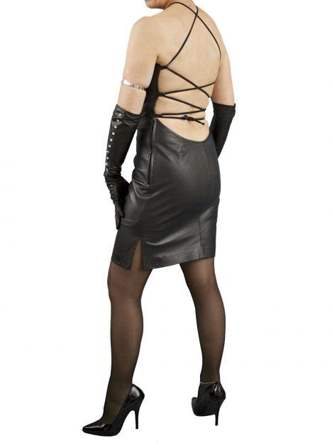 Black Tie Back Leather Dress