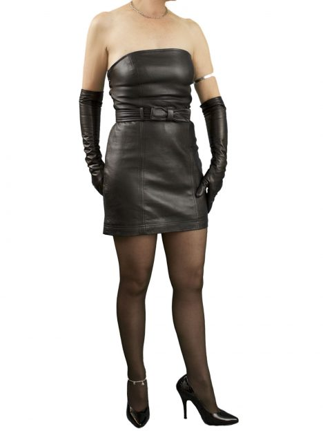 Strapless Black Leather Dress with belt