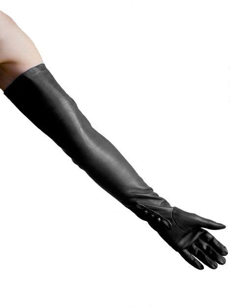Dents Black Long Leather Opera Gloves