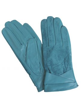 Pia Rossini Lake Blue Suede Leather Gloves with fold cuff