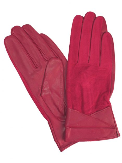 Pia Rossini Red Suede Leather Gloves with fold cuff