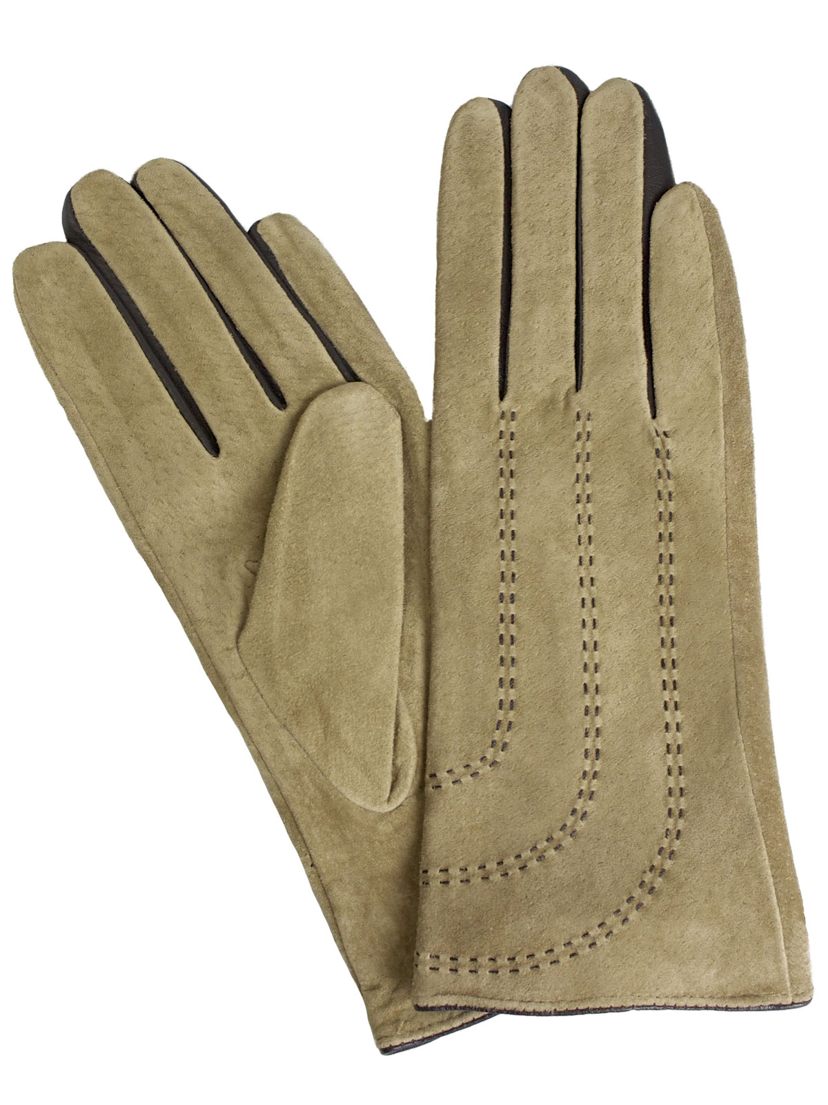 Pia Rossini Ladies Camel Suede Leather Gloves with contrast stitching