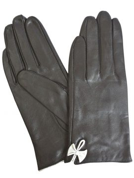 Pia Rossini Ladies Black Leather Gloves with White Bow