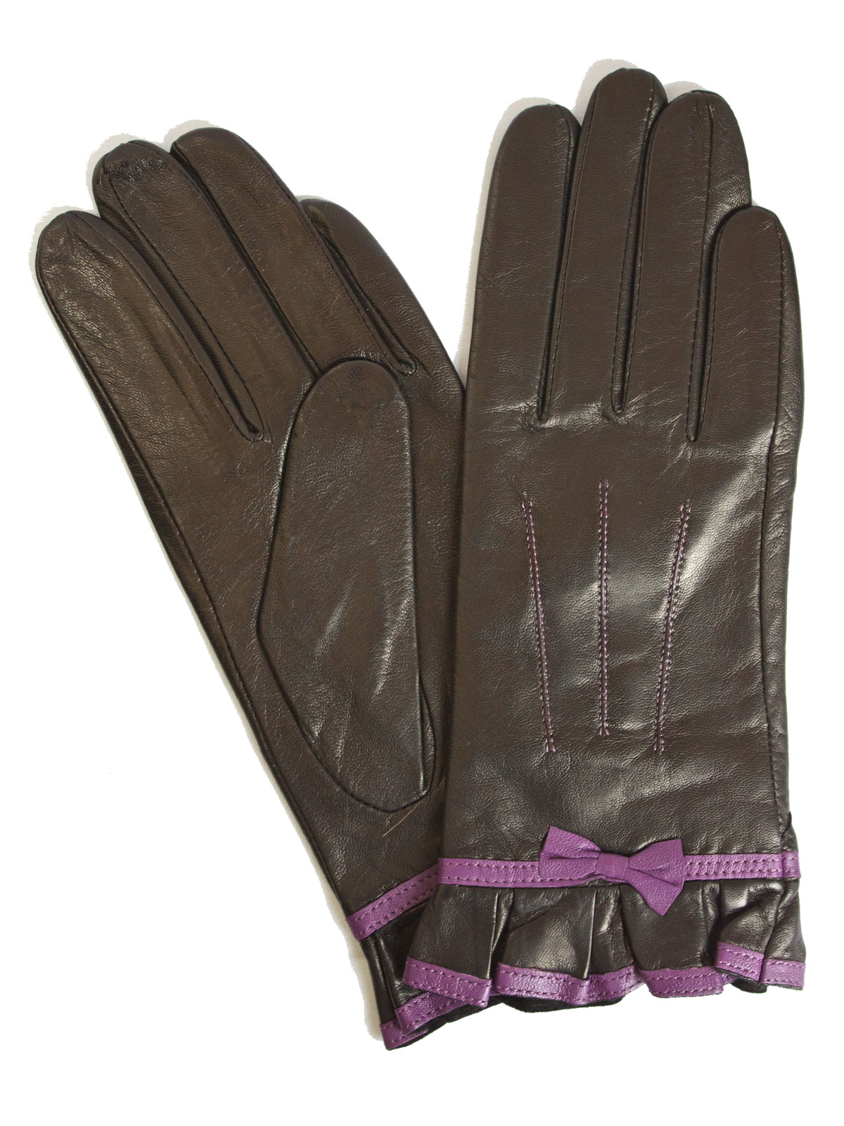 Pia Rossini Ladies Black Leather Gloves with violet bow frill