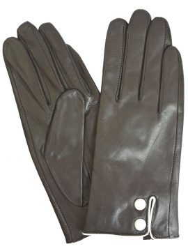 Pia Rossini Ladies Black Leather Gloves with White Buttons
