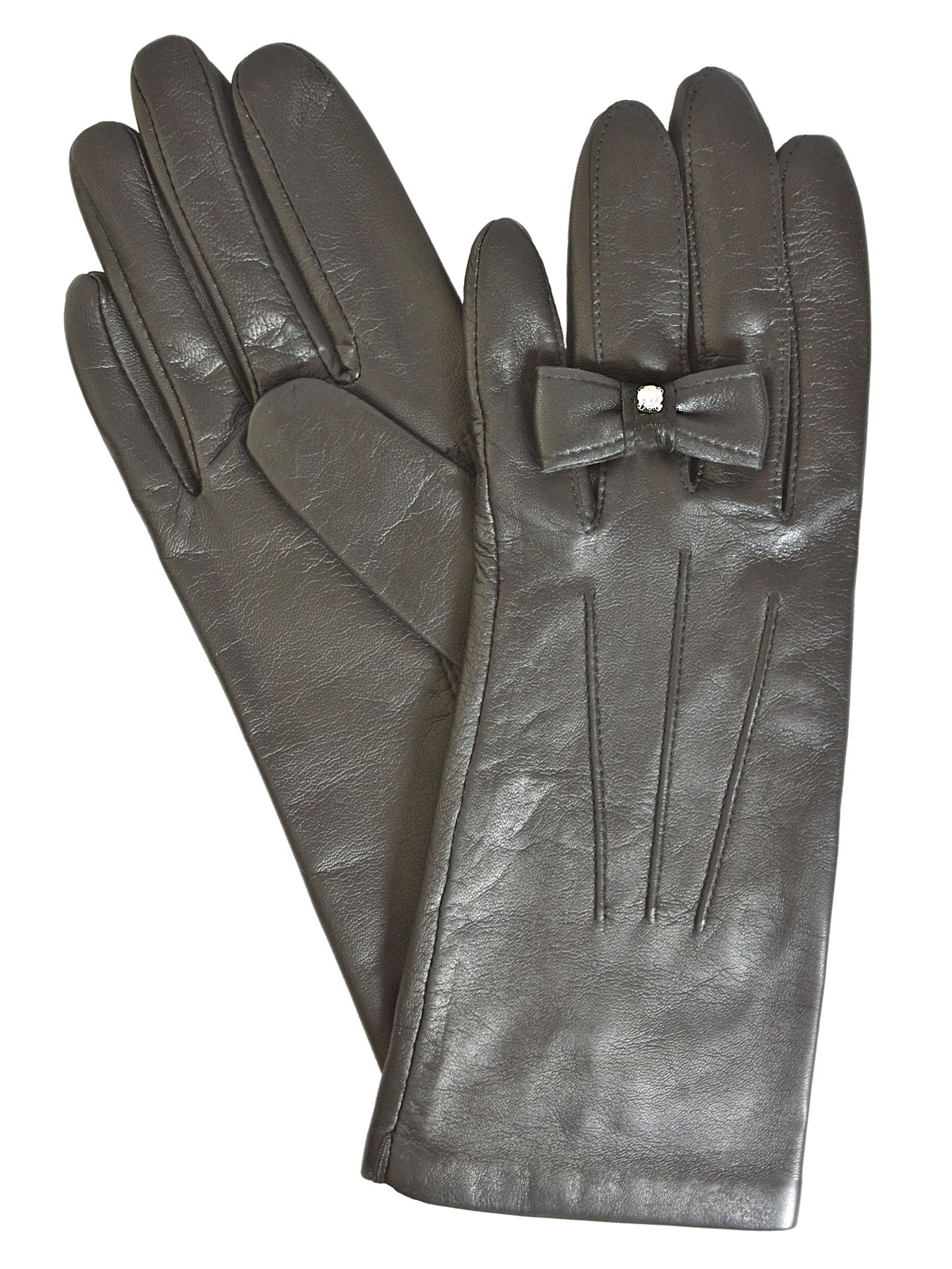Dents Ladies Black Leather Gloves with finger bow