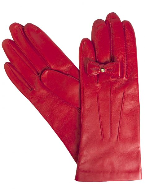 Dents Ladies Red Leather Gloves with finger bow