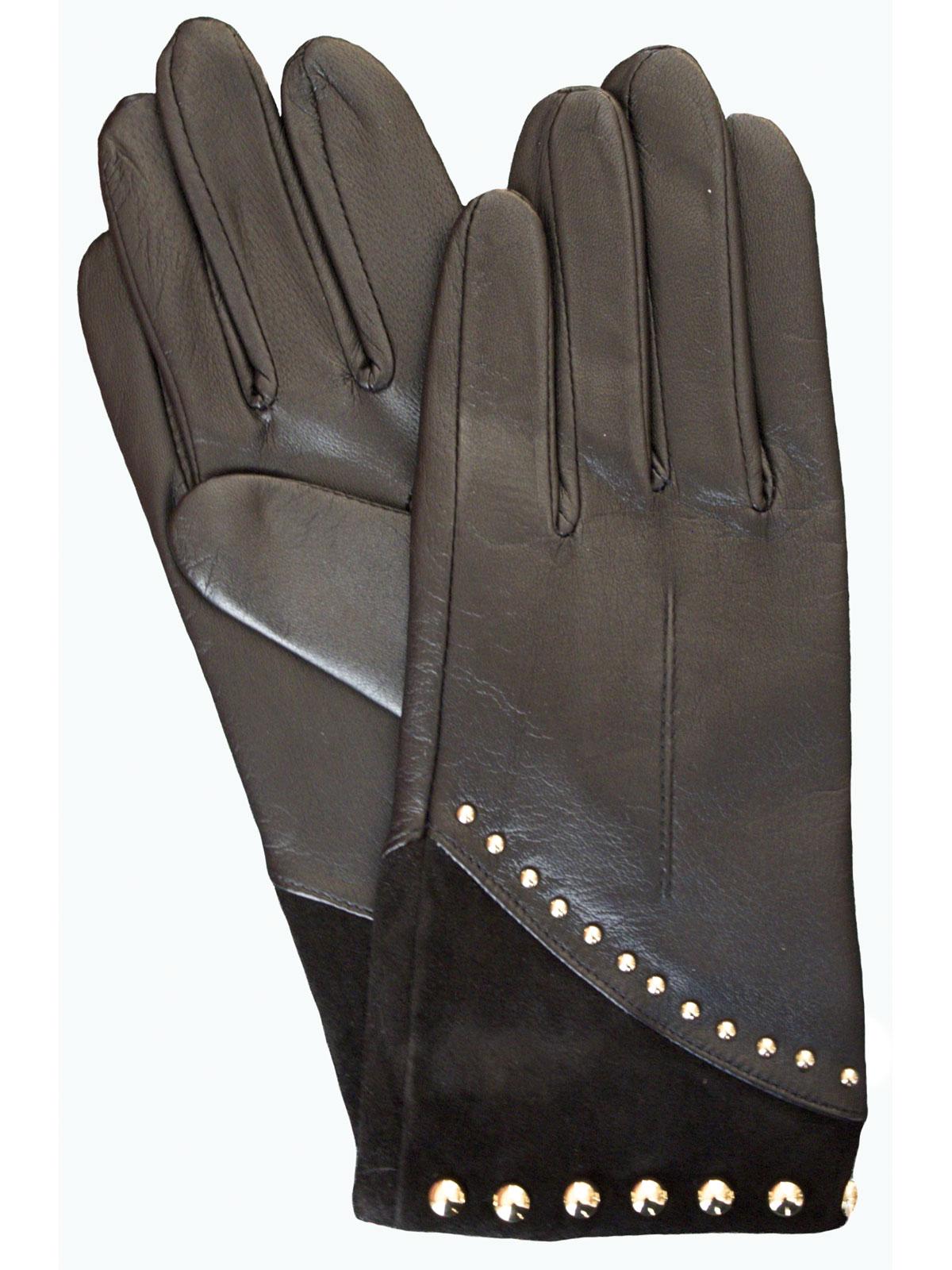 Dents Ladies Black Leather Gloves Suede Cuff