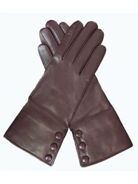 Dents Ladies Leather Gloves, 3 buttons and fur lined cuff, Bordeaux