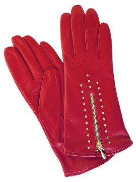 Dents Womens Red Leather Gloves with gold zip and studs
