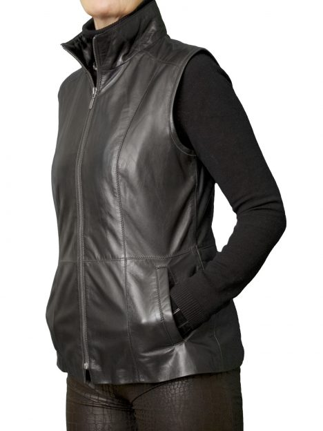 Womens Leather Gilet Waistcoat Black High Collar Tout