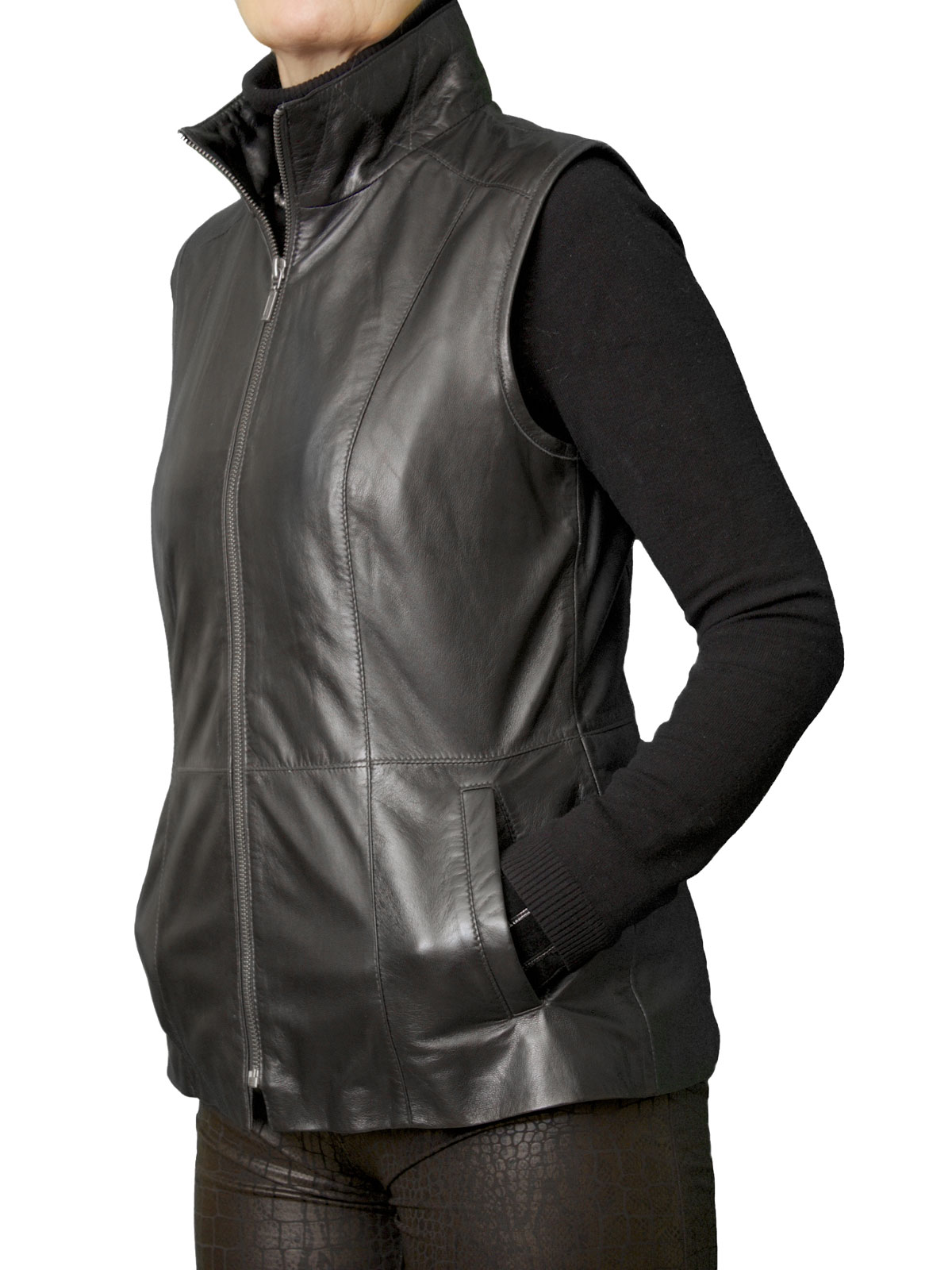 Ladies Black Leather Gilet with stand-up collar