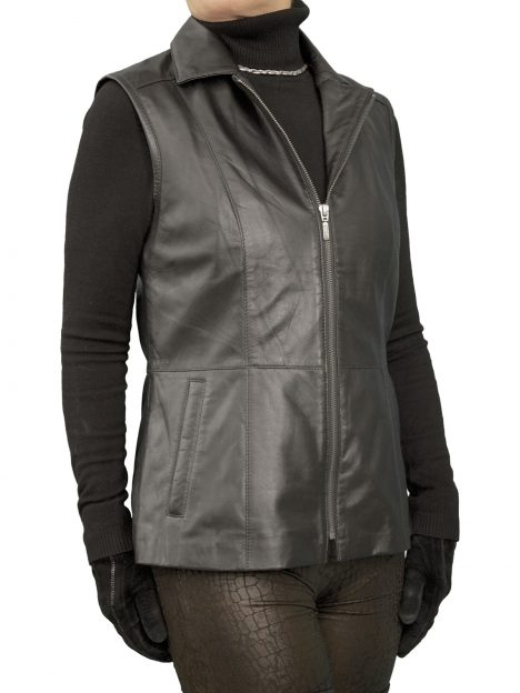 Ladies Black Leather Gilet with fold-down collar