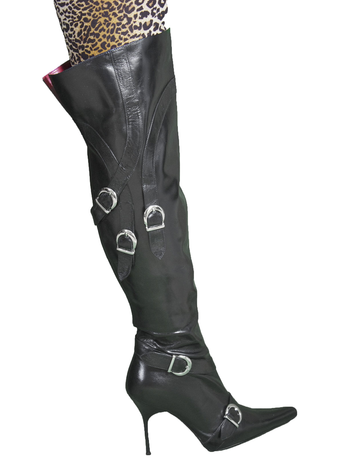 7f7accc796 Gucinari Black Leather Needle Heel Over Knee Boots with buckle straps