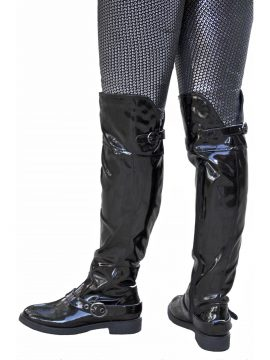 Lunar Women's Black Patent Flat Heel Over The Knee Boots