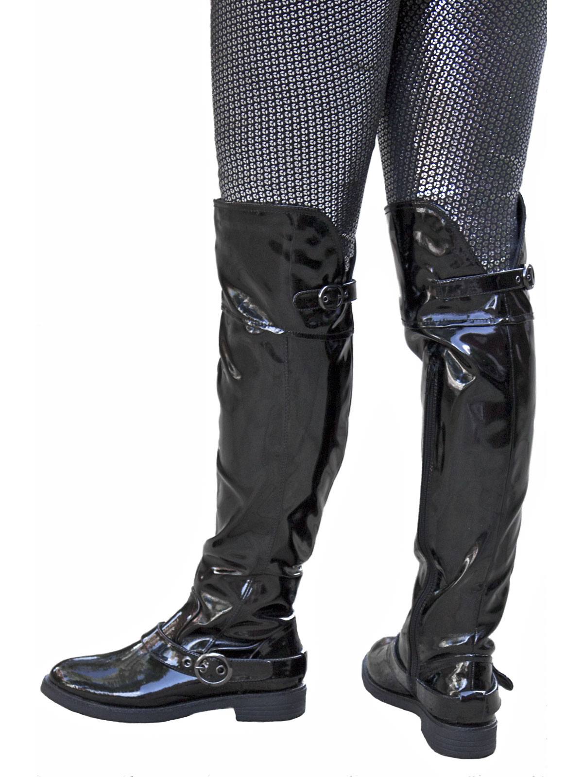 Lunar Women's Black Patent Flat Heel Over The Knee Boots