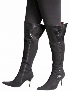 Gucinari Black Suede Leather High Heel Over Knee Boots