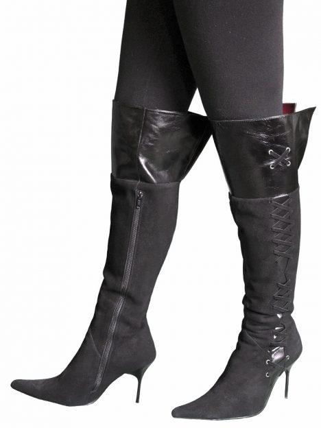Gucinari Black Suede Leather High Heel Over Knee Boots