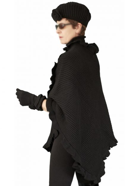 Pia Rossini Knitted Poncho Hat Gloves Matching Set, Black