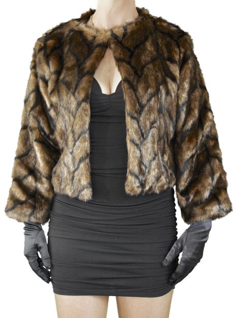Dents Womens Evening Faux Fur Jacket, Cognac