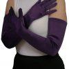 Dents Long Satin Gloves, amethyst purple