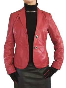 Womens Leather Jacket Blazer, red
